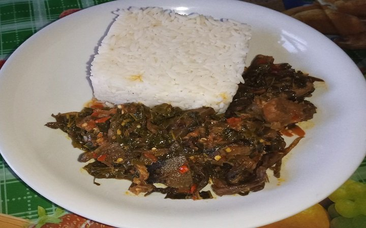 Served Vegetable Soup with White Rice