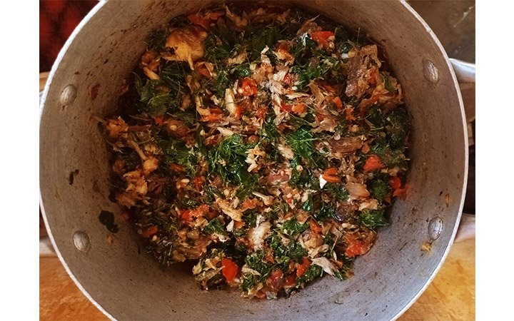 Mixed with Boiled Moringa leaves
