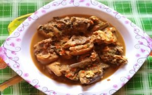 Served Goat Meat Pepper Soup