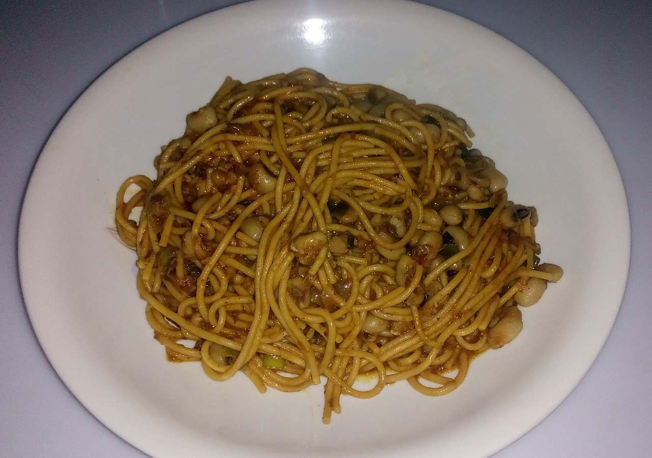 Served Spaghetti and beans
