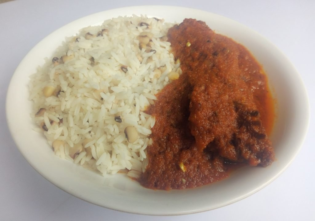 Served with white rice and beans